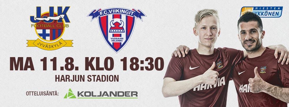 JJK - FC Viikingit maanantaina 11.8. klo 18:30 Harjun stadionilla