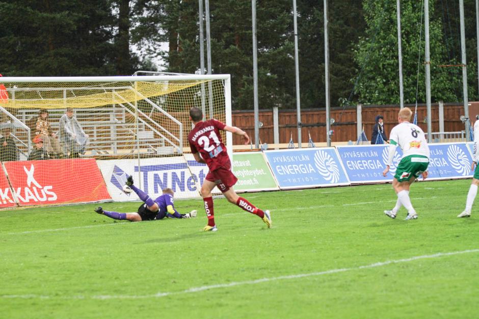 Näkymä kesän 2013 JJK-IFK Mariehamn -ottelusta Harjulla