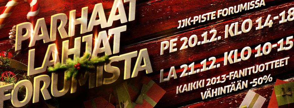 Parhaat joululahjat Forumista - JJK piste perjantaina klo 14-18 ja lauantaina klo 10-15